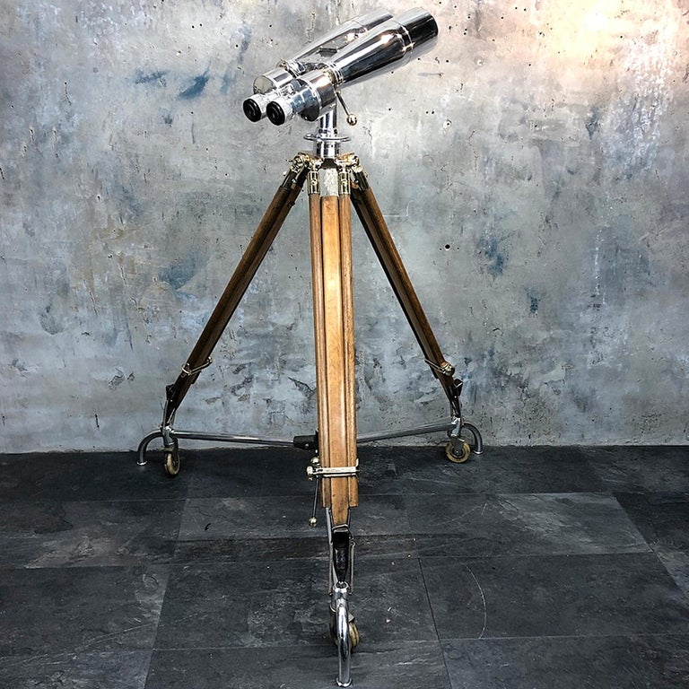Japanese Fuji Meibo observation binoculars 15 x 80, 4 degree field of view.  A large pair of Japanese ex-navy observation binoculars mounted on an antique 1940s ERYL & S bronze, brass and hardwood tripod signed and stamped with the British Ministry