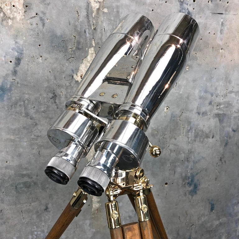 Mid-20th Century 1940s Japanese Fuji Meibo Naval Binoculars, MOD Antique Tripod and Castors For Sale