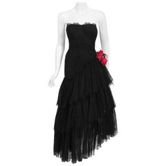 Vintage 1940's Jeanne Lanvin Haute-Couture Black Lace Strapless Asymmetric Dress