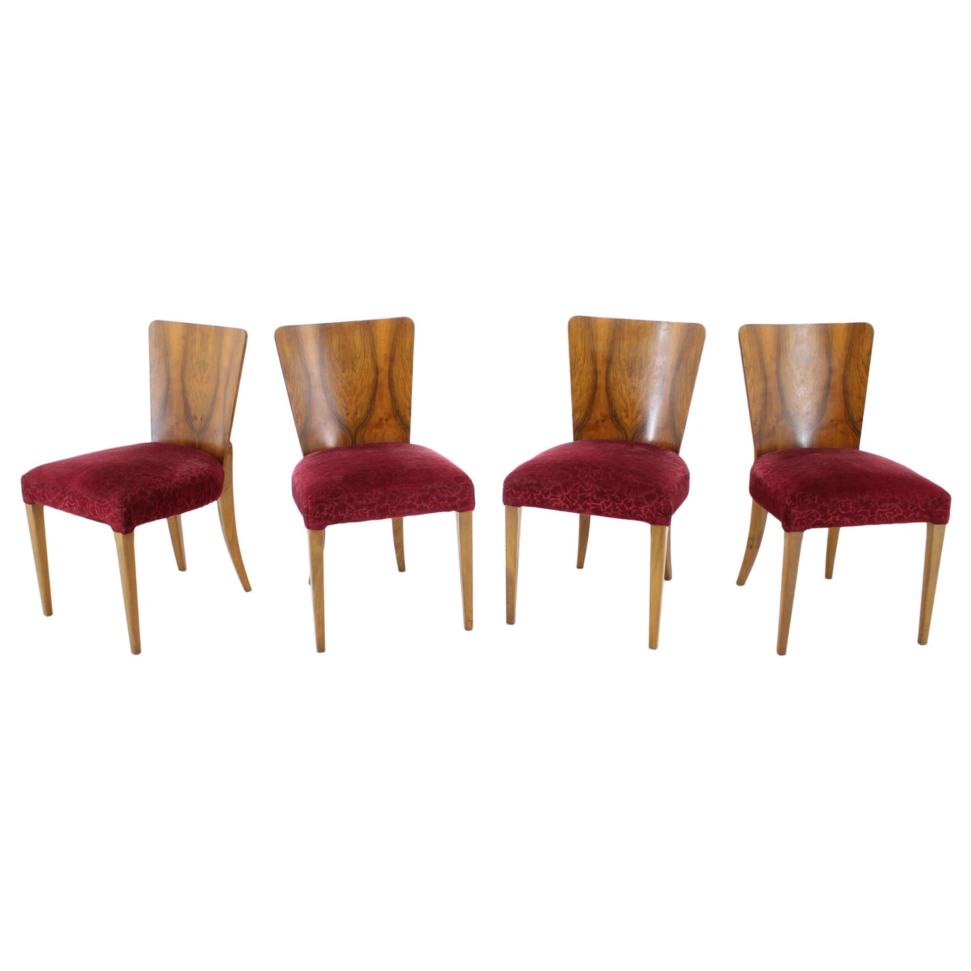1940s Jindrich Halabala Art Deco Dining Chairs H-214 for UP Závody, Set of 4