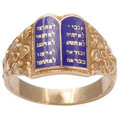 1940s Judaica Yellow Gold Blue Enamel Ten Commandments Ring