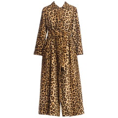 1940'S Juel Park Beverly Hills Couture Leopard Velvet Coat Lined In Red Silk