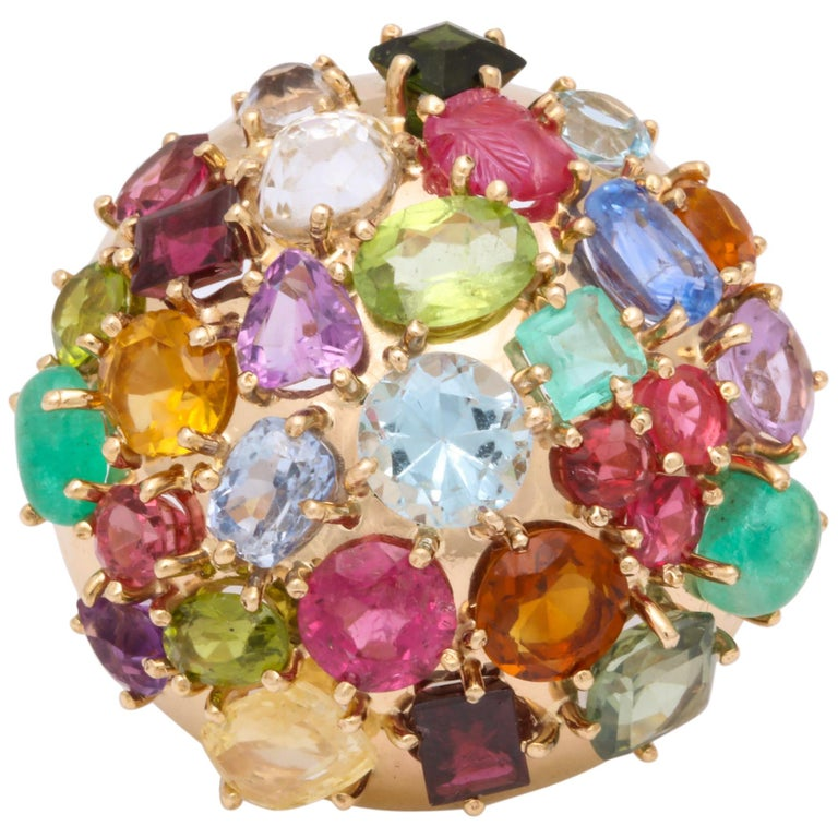 1940s Jumbo Multicolored Stones Satellite Bombe Gold Cocktail Ring For Sale