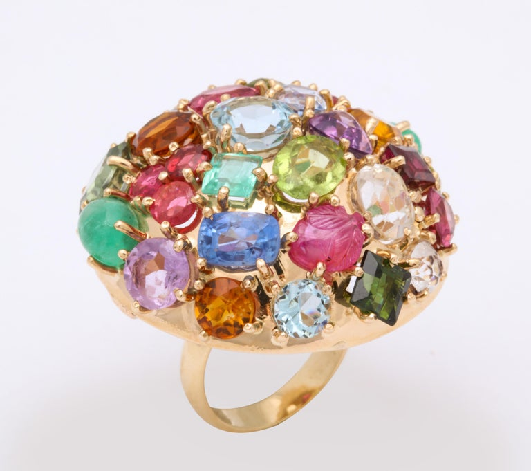 1940s Jumbo Multicolored Stones Satellite Bombe Gold Cocktail Ring For Sale 8