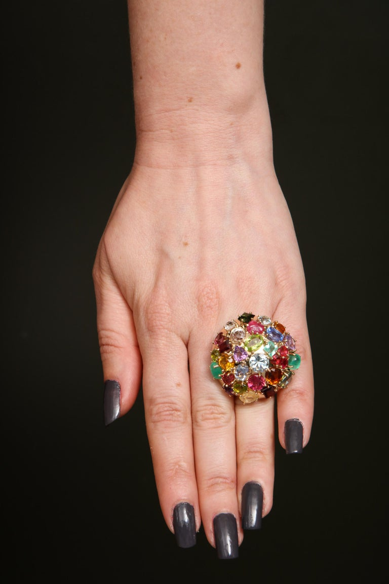 1940s Jumbo Multicolored Stones Satellite Bombe Gold Cocktail Ring For Sale 9