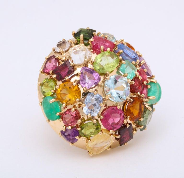 Women's 1940s Jumbo Multicolored Stones Satellite Bombe Gold Cocktail Ring For Sale