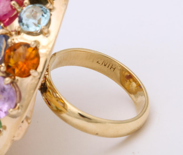 1940s Jumbo Multicolored Stones Satellite Bombe Gold Cocktail Ring For Sale 5