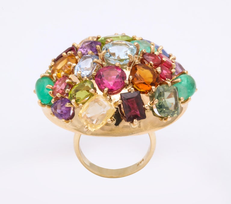 1940s Jumbo Multicolored Stones Satellite Bombe Gold Cocktail Ring For Sale 6