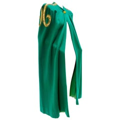 1940s Kelly Green Wool Cape w/ Gold Embroidery & Sequin Sculpted Shoulder Detail