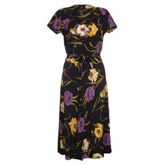 1940s Klafter & Sobel Navy Rayon Floral Crepe Dress with Corsage