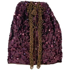 1940s Koret Maroon Sequin Evening Arm Bag