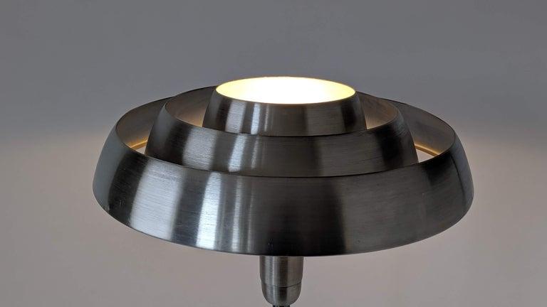 1940s Kurt Versen 'Saturn' Style Art Deco Aluminum Floor Lamp, USA For Sale 4