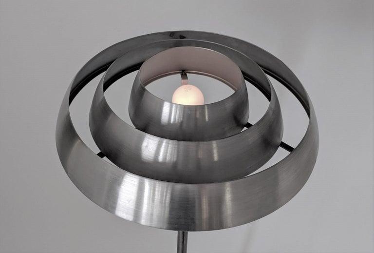 1940s Kurt Versen 'Saturn' Style Art Deco Aluminum Floor Lamp, USA For Sale 5