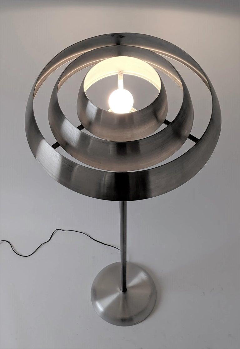 1940s Kurt Versen 'Saturn' Style Art Deco Aluminum Floor Lamp, USA For Sale 2