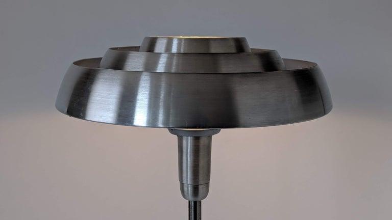 1940s Kurt Versen 'Saturn' Style Art Deco Aluminum Floor Lamp, USA For Sale 3
