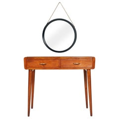 1940s Lady Desk Withmirror Vanitie Carlo de Carli Attributed Lacquered Glass Top