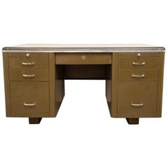 1940s Large and Heavy Well Made Industrial Military Green Steel Tanker Desk