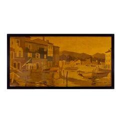 1940s Large Decorative Panel by Rosenau, Fishing Port Scene, Marquetry, France