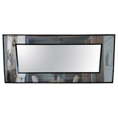 1940s Large Etched Mirror, Waxed Wood Frame and Moldings, Italy