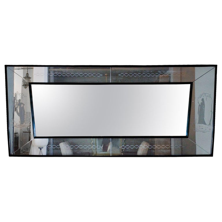 1940s Large Etched Mirror, Waxed Wood Frame and Moldings, Italy For Sale