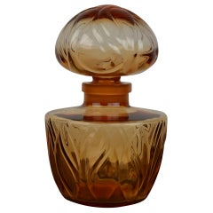 1940s Large Faberge Perfume Display Bottle in Amber Glass, France