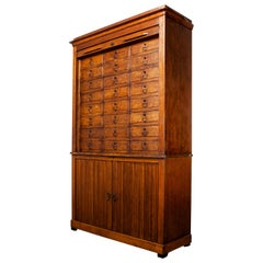 1940's Large French Oak Atelier Cabinet - Tambour Fronted