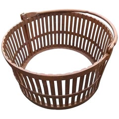 1940s Large Hand Forged Iron Basket with Heavy Duty Handle, Industrial Style