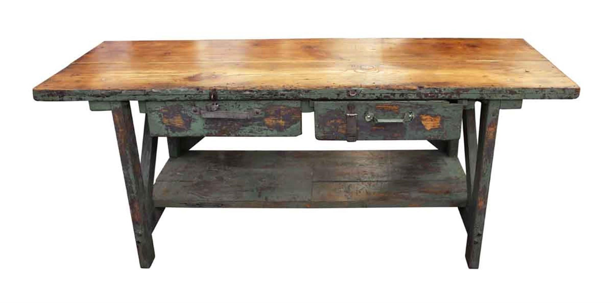 Merveilleux 1940s Large Industrial Green Painted Farm Work Table With Two Drawers