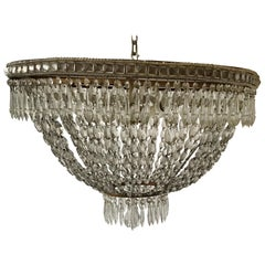1940s Large Oval French Flush Mounted Crystal Chandelier