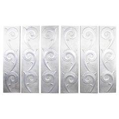 1940s Large Soviet Decorative Aluminium Wall Panels, Set of Six