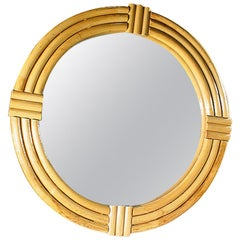 1940s Large Three-Strand Round Rattan Mirror