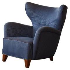 1940s Lassen Tired Man-Style Large Easy Chair Danish Mid-Century