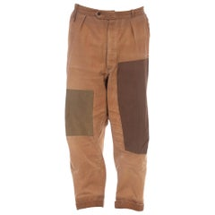 1940S LE PIGEON VOYAGEUR Brown Cotton Men's French Workwear Patched Up Pants