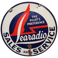 1940s Lear Jet Learadio Porcelain Double Sided Sign