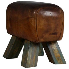 1940s Leather Gym Stool / Bench