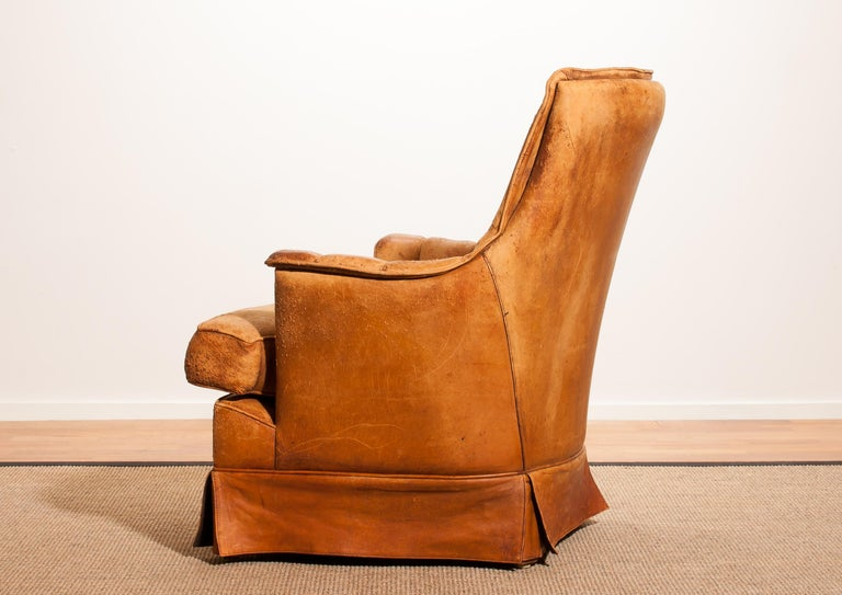 1940s, Sheep Leather Club Lounge Chair, France For Sale At