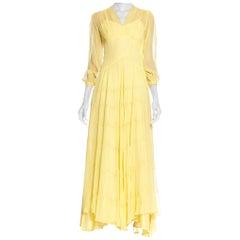 1940's Lemon Yellow Sheer Net Gown