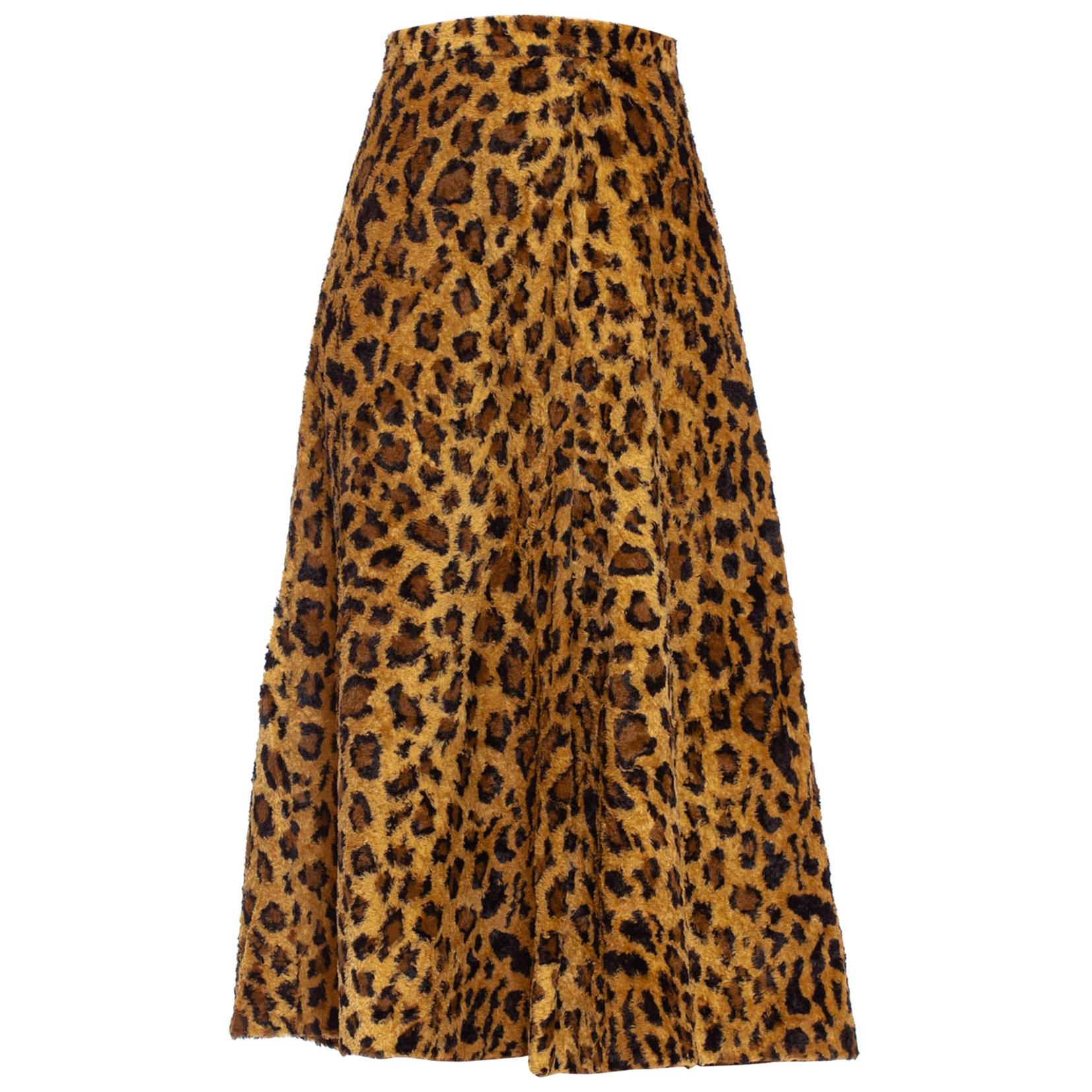 1940S Leopard Print Cotton & Rayon Faux Fur Early Rockabilly Skirt