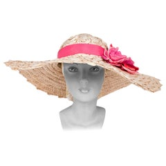 1940's Leslie James Champagne Raffia Picture Hat