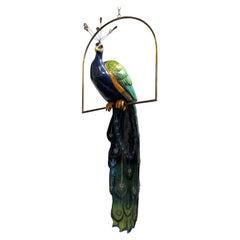 1940s Life Size Papier Maché Peacock Sculpture by Carlos Del Conde
