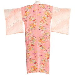 1940s Lightweight Japanese Silk Origami Crane Kimono