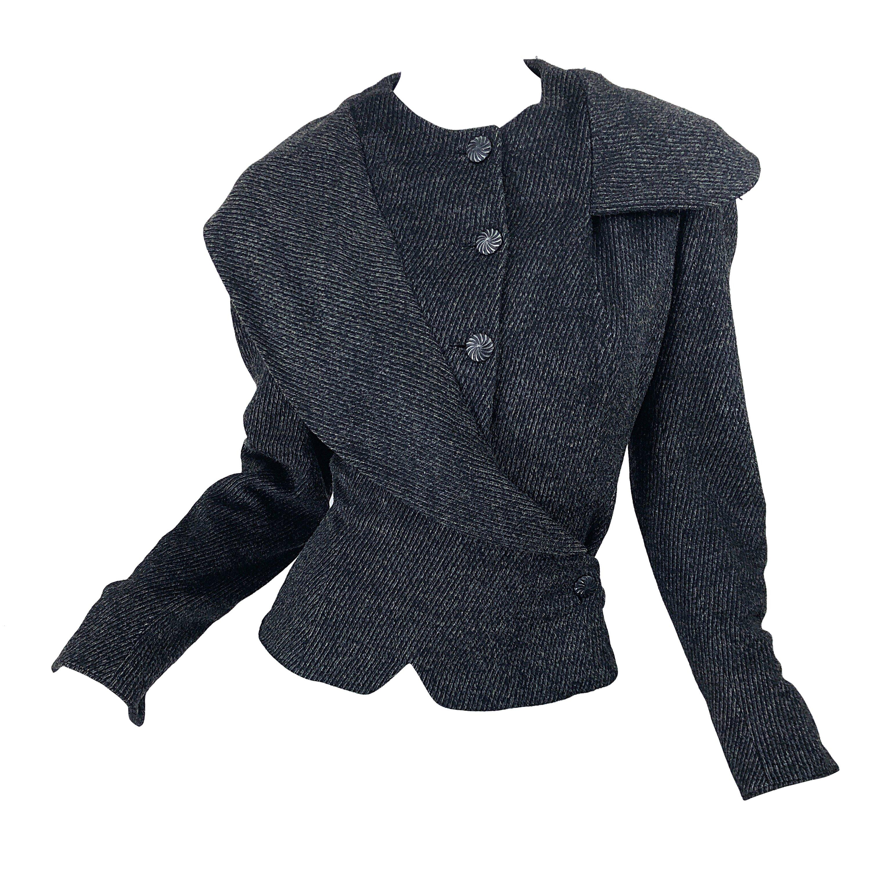 1940s Lilli Ann Grey Black Avant Garde Vintage 40s Asymmetrical Wool Jacket