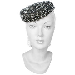 1940's Lilly Daché Grey Perch Hat with Beading