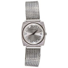 1940s Longines White Gold Ultra Thin Grey Diamond Dial Adjustable Bracelet Watch