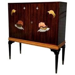 1940s Macassar Ebony and Burl Wood Bar Cabinet by Osvaldo Borsani