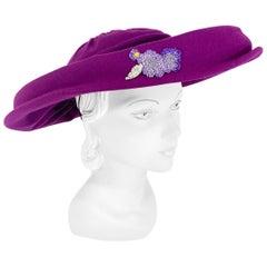 1940s Magenta Picture Hat
