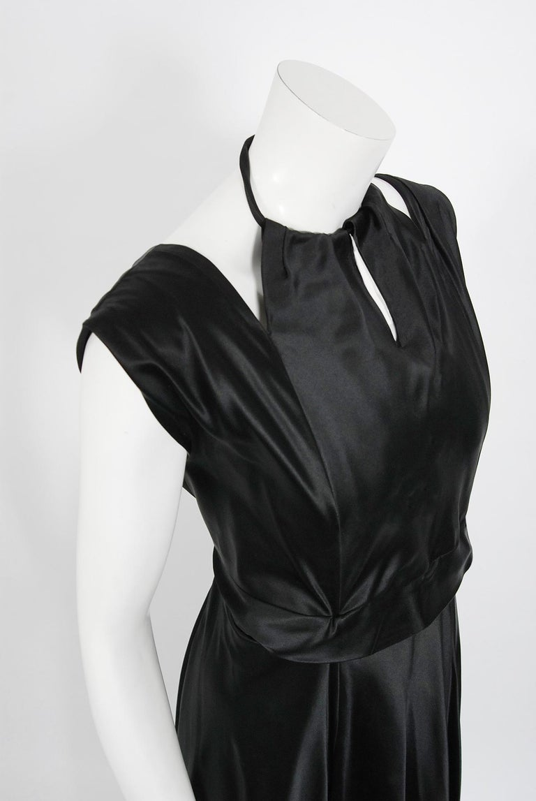 1940's Marcelle Dormoy French Couture Black Silk Sculpted Cut-Outs Low Back Gown In Good Condition For Sale In Beverly Hills, CA