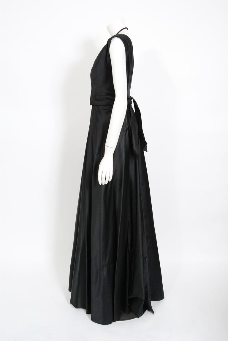Women's 1940's Marcelle Dormoy French Couture Black Silk Sculpted Cut-Outs Low Back Gown For Sale