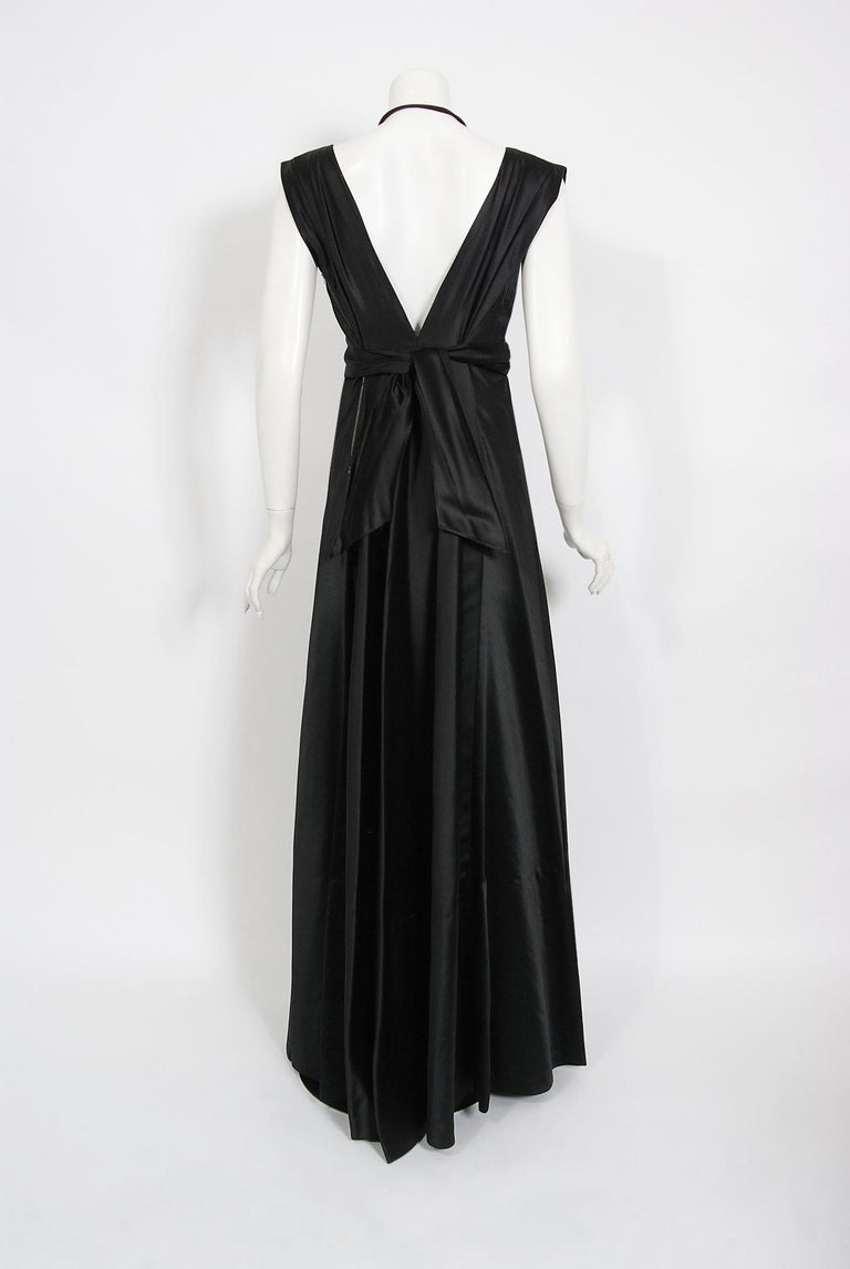 1940's Marcelle Dormoy French Couture Black Silk Sculpted Cut-Outs Low Back Gown For Sale 1