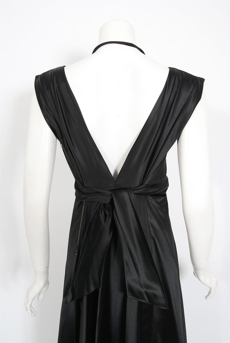 1940's Marcelle Dormoy French Couture Black Silk Sculpted Cut-Outs Low Back Gown For Sale 2